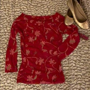 The Limited Red sheer long sleeve top - size sm